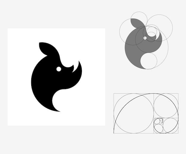 Vector neushoorn in gulden snede stijl. bewerkbare illustratie