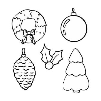 Vector nieuwjaar kerstmis doodle collectie boom crowntoy hulst illustraties geïsoleerd op wit