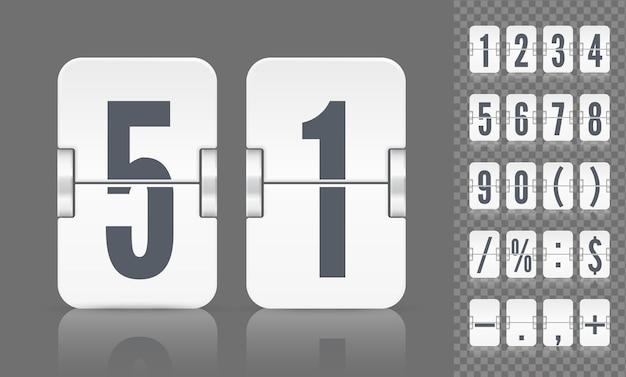 Vector numerieke sjabloon voor tijdontwerp. set flip scorebord met getallen symbolen en reflecties voor witte countdown timer of alarm horloge op donkere achtergrond.
