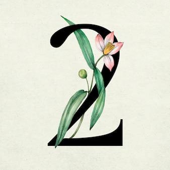 Vector nummer 2 lettertype botanische vintage typografie