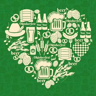 Vector oktoberfest badge. ik hou van bierfestival