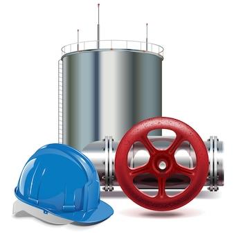 Vector olie-industrie geïsoleerd op een witte achtergrond
