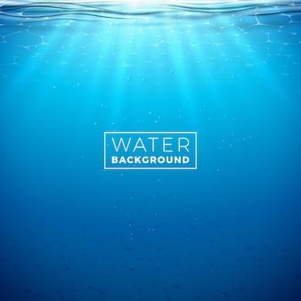 Vector onderwater blauwe oceaan achtergrondontwerpmalplaatje