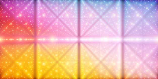 Vector oneindige ruimte achtergrond. matrix van gloeiende sterren met illusie van diepte en perspectief. geometrische achtergrond met puntarray als roosterknooppunten. abstracte futuristische kleurrijke universum achtergrond