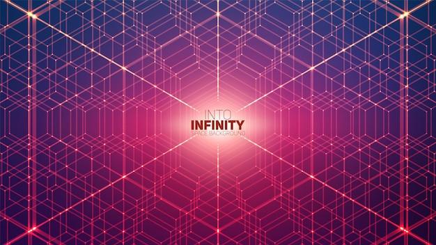 Vector oneindige zeshoekige ruimte achtergrond. matrix van gloeiende sterren met illusie van diepte, perspectief. geometrische achtergrond met puntarray als honingraat. abstracte futuristische universum.