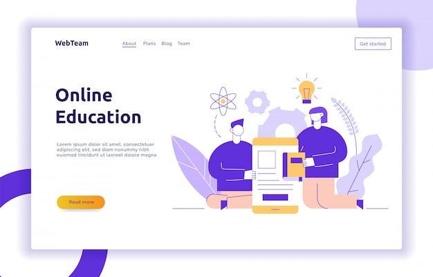 Vector online de bannerconcept van de onderwijswebpagina