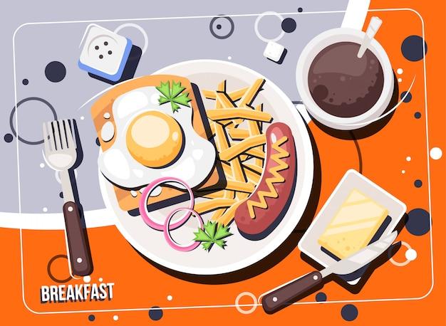 Vector ontbijt met eten en drinken. ontbijt en brunches bovenaanzicht frame.