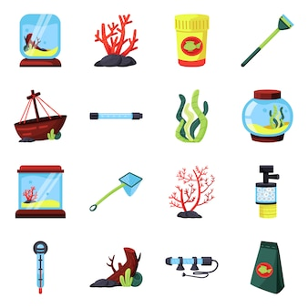 Vector ontwerp huisdier en aqua symbool. stel huisdier en accessoire in