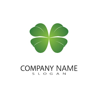 Vector ontwerp van groene klaver blad logo, geluk pictogram platte ontwerp illustratie-vector Premium Vector