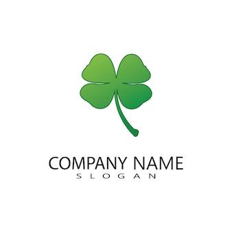 Vector ontwerp van groene klaver blad logo, geluk pictogram platte ontwerp illustratie-vector
