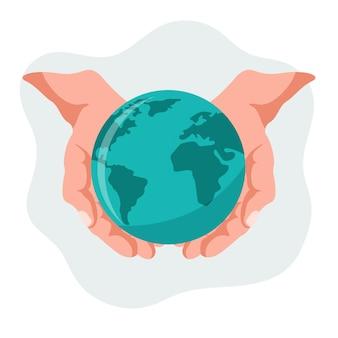 Vector ontwerp van handen met onze planeet aarde