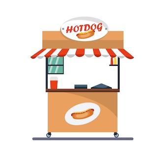 Vector ontwerp van kiosk winkelwagen verkoop van voedsel
