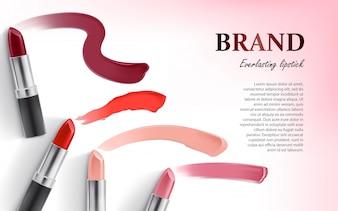 Vector ontwerp van lipstick verpakking en lippenstift smear samples
