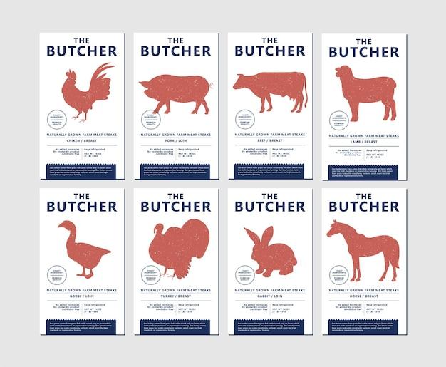 Vector ontwerpsjabloon etiketten voor verpakking met illustratie silhouetten landbouwhuisdieren. abstract symbool voor vleesproducten.
