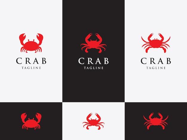 Vector ontwerpsjabloon instellen embleem ontwerpconcept krab met grote klauwen