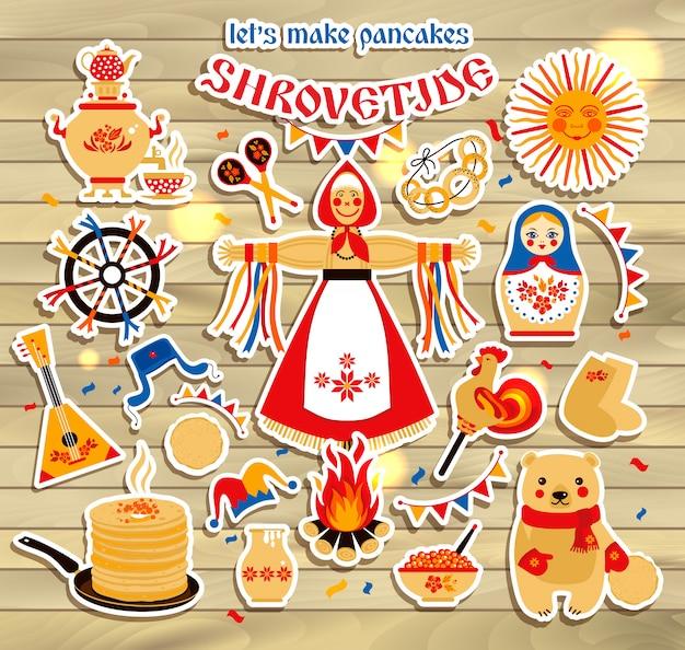 Vector op het thema van de russische vakantie carnaval wordt geplaatst dat.