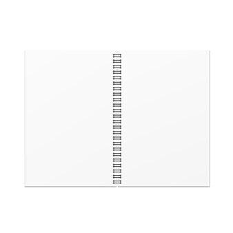 Vector open leeg notitieboekjemalplaatje op witte achtergrond