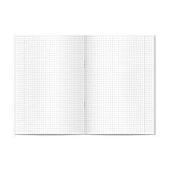 Vector opende realistische grafiek of quad geregeerd schoolboek met rode marges