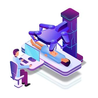 Vector operatie vrouwelijke patiënt met medische robot