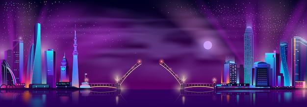 Vector opgeheven ophaalbrug tussen twee neon megalopolises