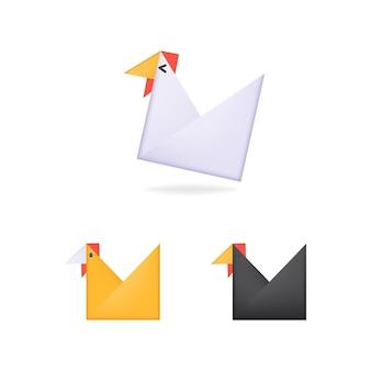 Vector origami kip voor kinderen met felle kleuren en witte achtergrond