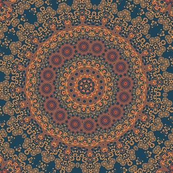 Vector ornamentale ronde kant met damast en arabesque elementen. mehndi stijl. orient traditionele ornament. zentangle-achtige ronde gekleurde bloemenornament.
