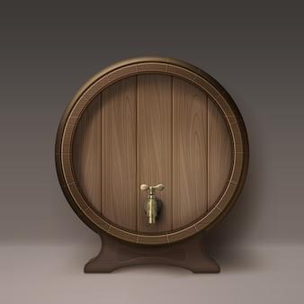 Vector oud houten vat op rek met bronzen kraan vooraanzicht dat op achtergrond wordt geïsoleerd