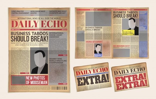 Vector oude dagelijkse krant sjabloon, tabloid, layout posting reportage