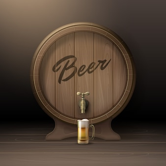Vector oude houten vat op rek met bronzen kraan en glazen mok bier vooraanzicht geïsoleerd op de achtergrond