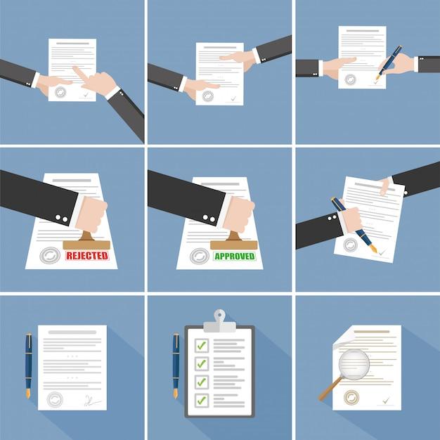 Vector overeenkomst - hand ondertekening contract set