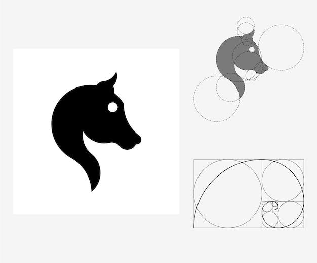 Vector paard in gulden snede stijl. bewerkbare illustratie