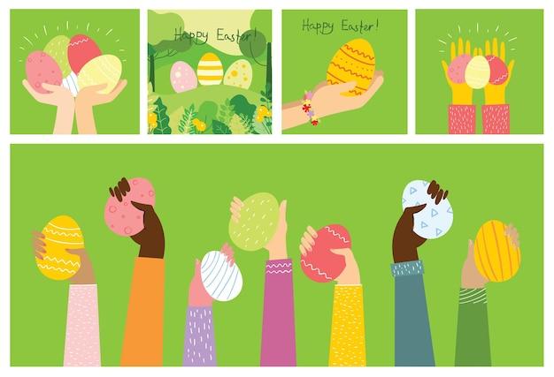 Vector paaskaarten met handen met de eieren en met de hand getekende tekst - vrolijk pasen in de vlakke stijl