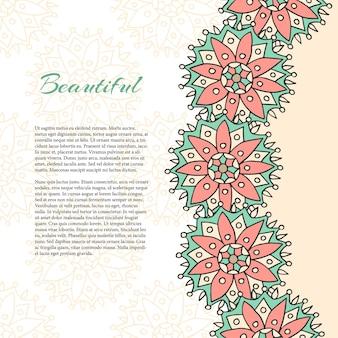Vector paginasjabloon met etnische sieraad. voor flyer, banner, poster, brochure, tijdschriftpagina's, briefkaarten, uitnodiging, aanplakbiljet, wenskaart
