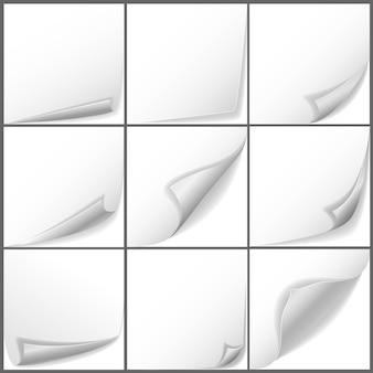 Vector papier gekrulde hoeken set. paginabericht, bladetiketsticker leeg voor zakelijke illustratie