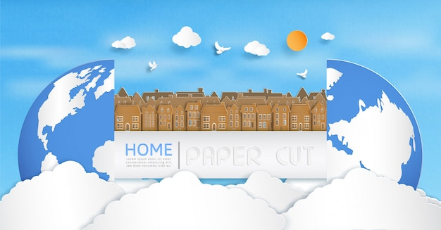 Vector papier gesneden en het panorama-uitzicht.