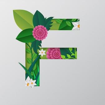 Vector papier gesneden stijl f alfabet