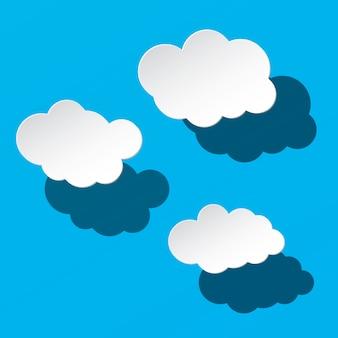 Vector papier wolken op blauwe hemel