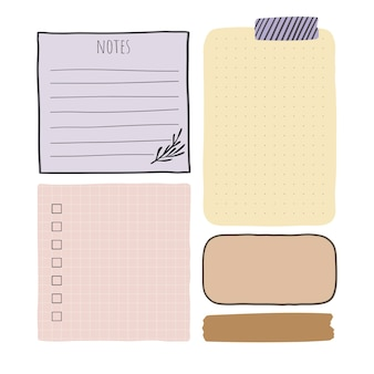 Vector papieren notitiebladen geïsoleerd op wit vector designelementen voor bullet journal en planner