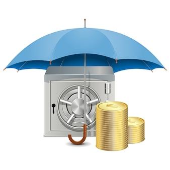 Vector paraplu en kluis