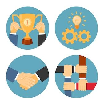 Vector partnerschap, wederzijds en samenwerking concepten zakelijke illustraties