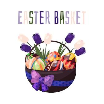 Vector. pasen-mand met chocolade gekleurde eieren en de lentebloemen.