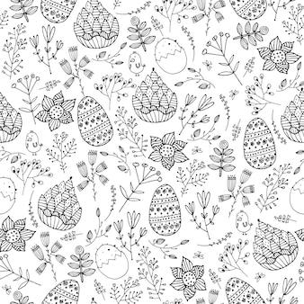 Vector pasen naadloze doodle patroon. hand getekende eieren, bloemen, bladeren achtergrond. vakantieconcept voor uitnodiging, kaart, ticket, branding, logo, label, embleem. kleurboekpagina voor volwassen kinderen