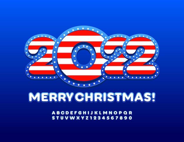 Vector patriottische wenskaart merry christmas 2022 met usa vlag alfabetletters en cijfers set
