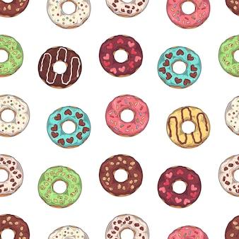 Vector patroon. geglazuurde donuts versierd met toppings, chocolade, noten.