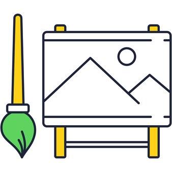 Vector penseel en ezel plat pictogram ontwerp