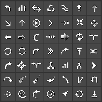Vector pijlen icon set, volgende back up download down vernieuwen