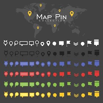 Vector pin kaart pictogram mark symbool locatie kleurrijke retro platte schaduw
