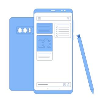 Vector plat lineaire illustratie in blauwe kleuren notities app
