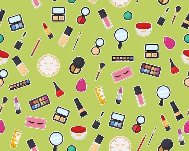 Vector plat naadloos structuurpatroon make-up accessoires