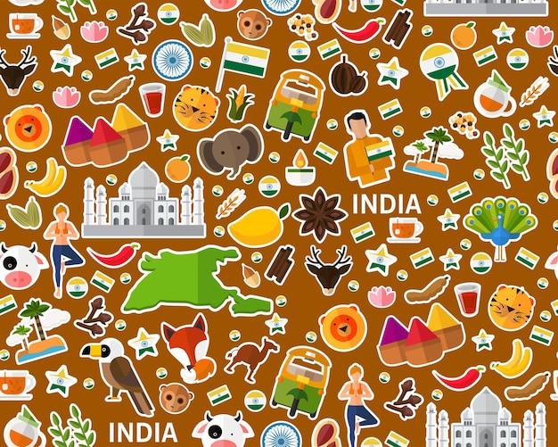Vector plat naadloos textuurpatroon india